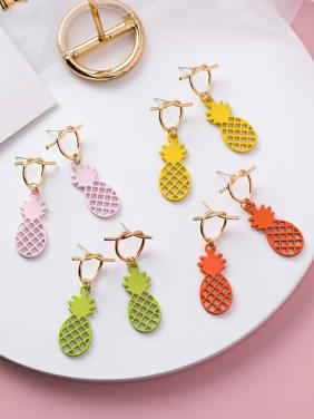 Alloy With Rose Gold Plated Cute Friut Pineapple Stud Earrings