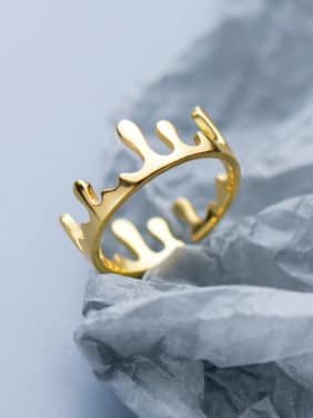 925 Sterling Silver With 18k Gold Plated Fashion Crown Rings