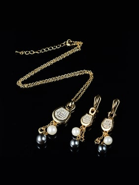 2018 Alloy Imitation-gold Plated Fashion Artificial Pearl and Rhinestones Two Pieces Jewelry Set