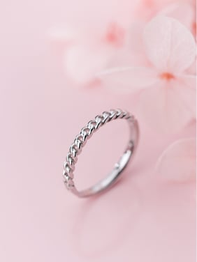 925 Sterling Silver With Silver Plated Simplistic Hollow Chain Free Size Rings
