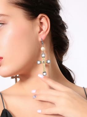 Retro Cross Shaped Personality Women Fashion Earrings