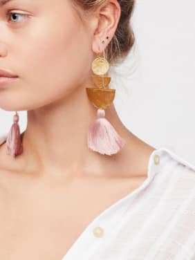 Artificial Geometric Stones drop earring