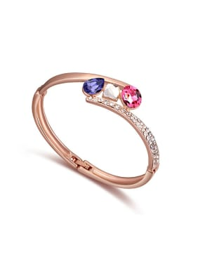 Fashion Rose Gold Plated Swarovski Crystals Alloy Bangle