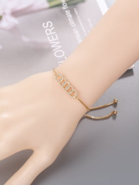 Copper With Gold Plated Simplistic Round Interlocking Adjustable Bracelets