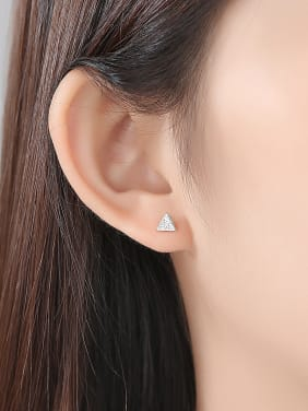 925 Sterling Silver With Cubic Zirconia Simplistic Triangle Stud Earrings