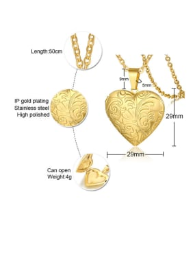Stainless Steel With Gold Plated Simplistic Heart Necklaces