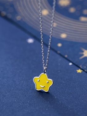 925 Sterling Silver With Silver Plated Cute Smiley Star Necklaces