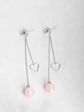 Pink Ball Zircon Copper inlaid platinum Drop Earrings