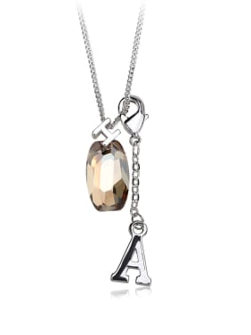 Ellipse crystal  letter A H Swarovski element crystal necklace