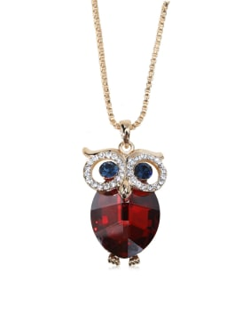 Dazzling Owl Crystal Swarovski element crystal necklace Multicolor