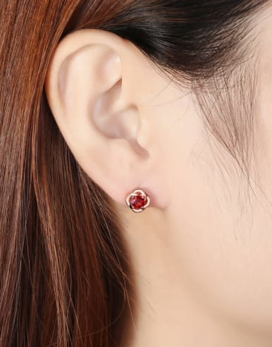 925 Sterling Silver With 5mm Round Natural Garnet Rosary Stud Earrings