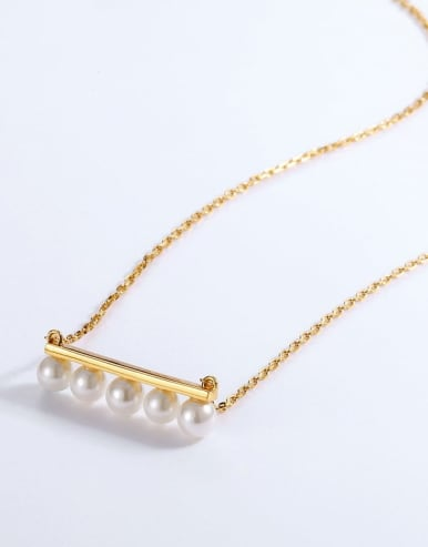 925 Silver With Gold Plated Synthetic pearl Necklaces