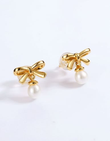 925 Sterling Silver With Freshwater Pearl Cute Bowknot Stud Earring