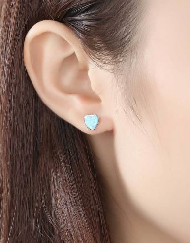 925 Sterling Silver With  Opal Simplistic Heart Stud Earring