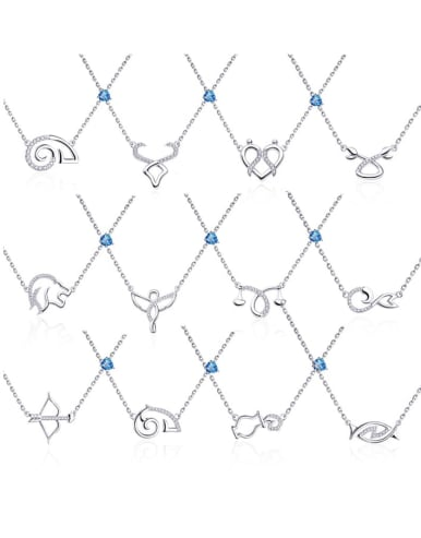 925 Sterling Silver With Topaz 12 Constellation Necklaces