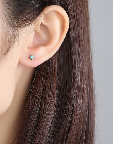 925 Sterling Silver With Opal Round Mini Stud Earring