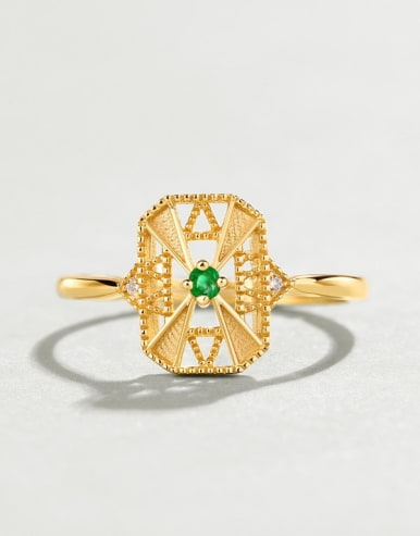 925 Sterling Silver With Gold Plated Vintage Square Cubic Zirconia Ring