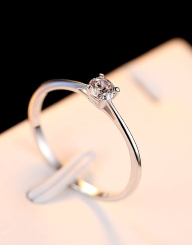 925 Sterling Silver With 4mm Cubic Zirconia Delicate Round Solitaire Ring