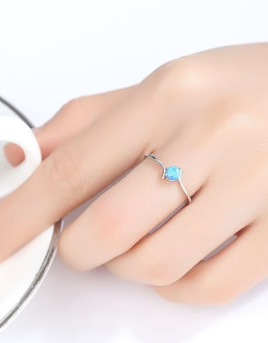 925 Sterling Silver With Opal Delicate Round Solitaire Ring
