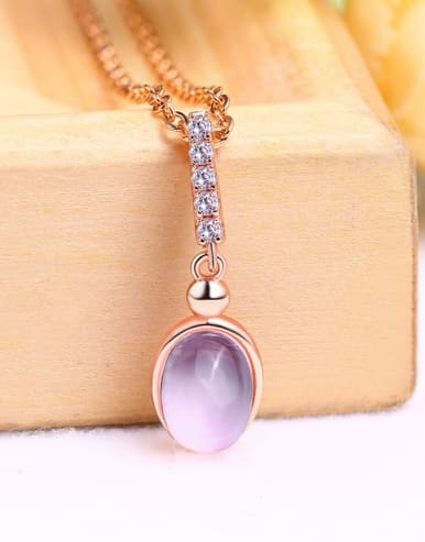 925 Sterling Silver With 6*8MM Oval Natural Powder Crystal Necklaces