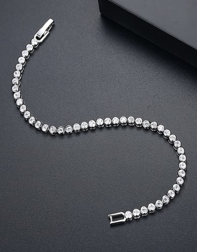 AAA+Cubic Zircon,Tennis round Delicate Bracelet,Platinum plated