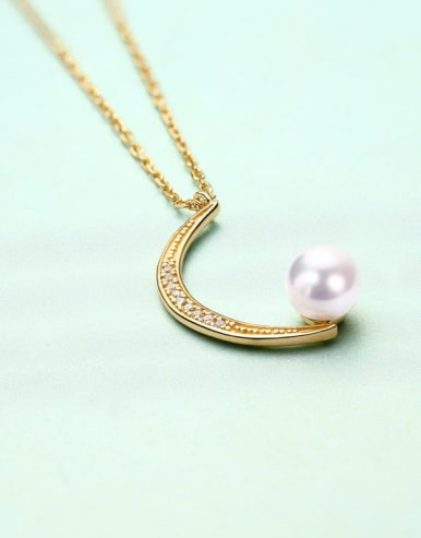 925 Sterling Silver With Gold Plated Delicate Peal Moon Necklace
