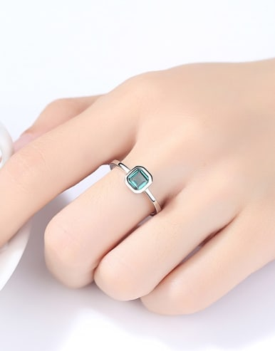 925 Sterling Silver With Cubic Zirconia Simplistic Square Solitaire Ring