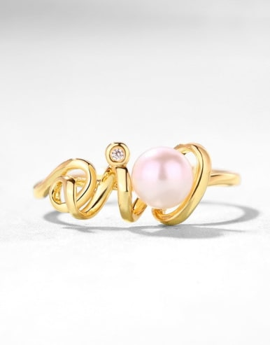 925 Sterling Silver With Gold Plated synthetic pearl Solitaire Ring
