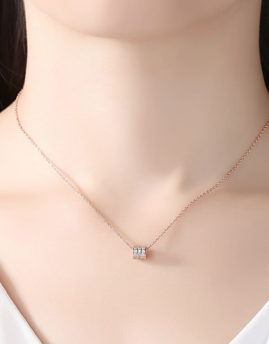 925 Sterling Silver With Cubic Zirconiad Simplistic Necklaces