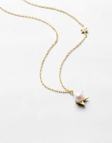 925 Sterling Silver With  Freshwater Pearl sweet Star Necklaces