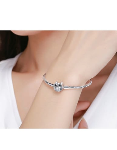 925 Silver Cute Owl Element Basic Bracelet