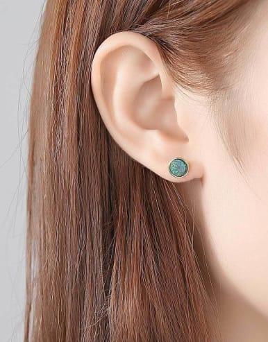 925 Sterling Silver With Opal Simplistic Round Stud Earring