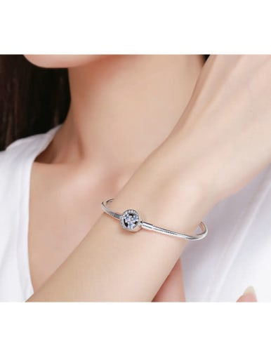 925 silver cute flower element basic bracelet