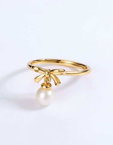 925 Sterling Silver With Freshwater Pearl Cute Bowknot Free size Ring