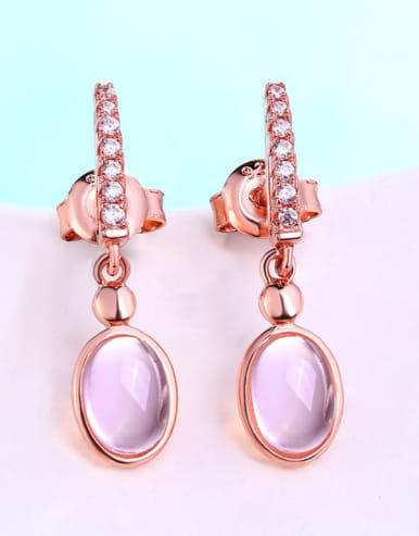 925 Sterling Silver With 5*7mm Oval Natural Powder Crystal Stud Earring