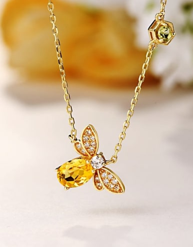 925 Sterling Silver With 5*7mm Citrine Cute bee Necklaces