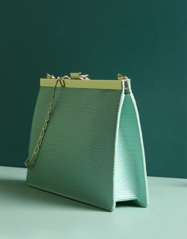 Split Leather-Chain envelope bag