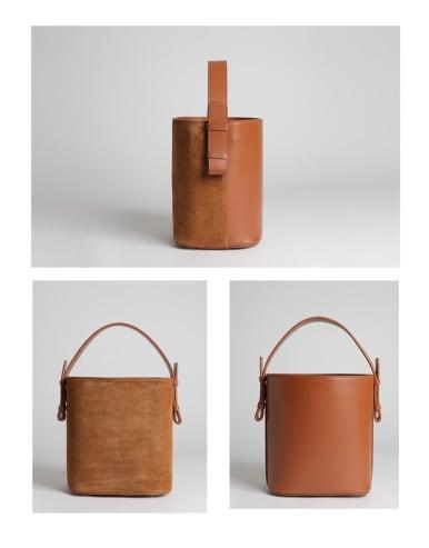 Matte/leather A/B face bucket bag
