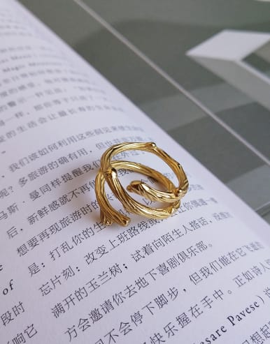 925 Sterling Silver With 18k Gold Plated Vintage Branch Rings