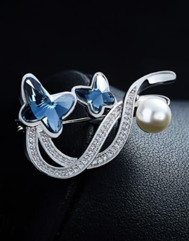 Elegant Butterflies Swarovski Crystals Brooch