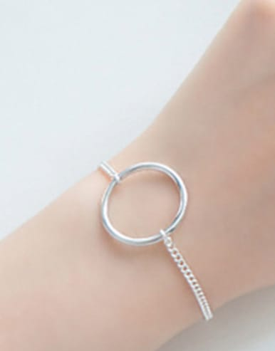 Simple Hollow Round Silver Women Bracelet