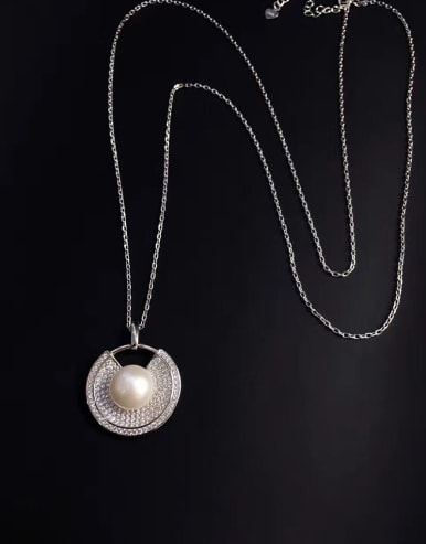 2018 Freshwater Pearl Zircon Round Necklace