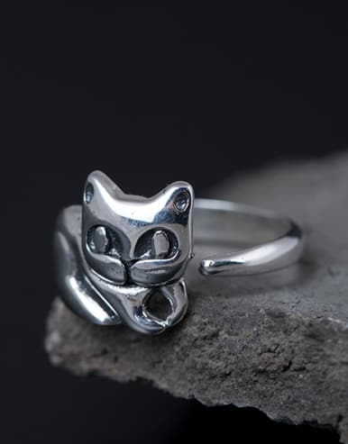 S925 Silver Cute Kitten Opening Statement Ring