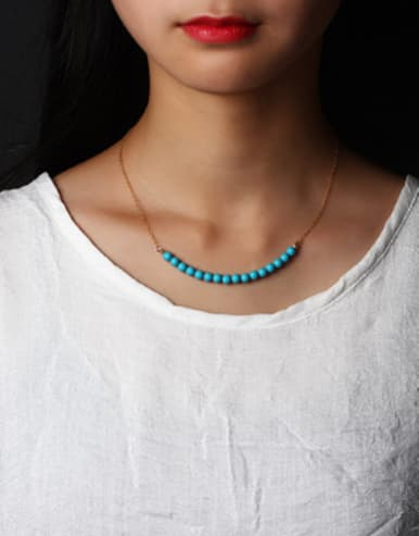 Handmade Fashion Blue Turquoise Necklace