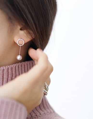 Sterling silver geometric hollow round beaded ear hook