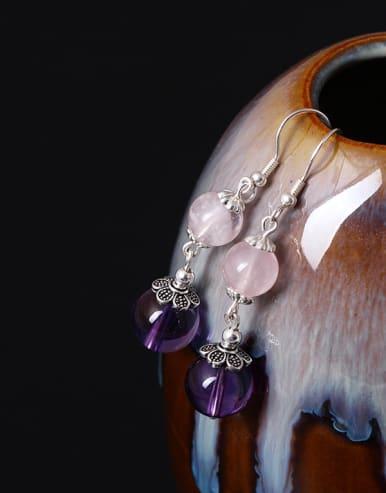 Natural Stone Silver Hook Earrings