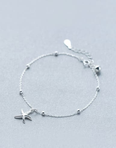 S925 Silver Lovely Sweet Fashion Simple Light Bead Bell Starfish Bracelet Acklet