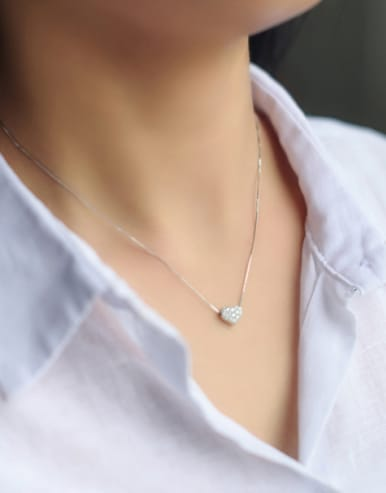S925 Silver Heart Shaped zircon Necklace