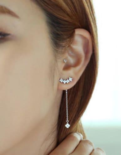 Fashion Tiny Flowers Cubic Zircon Silver Stud Earrings