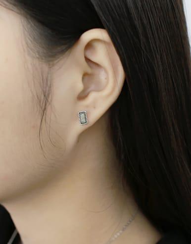 Simple Rectangular Grey stone Silver Stud Earrings